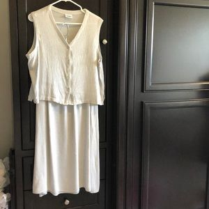 Eileen Fisher tan/white 2 piece skirt and top set